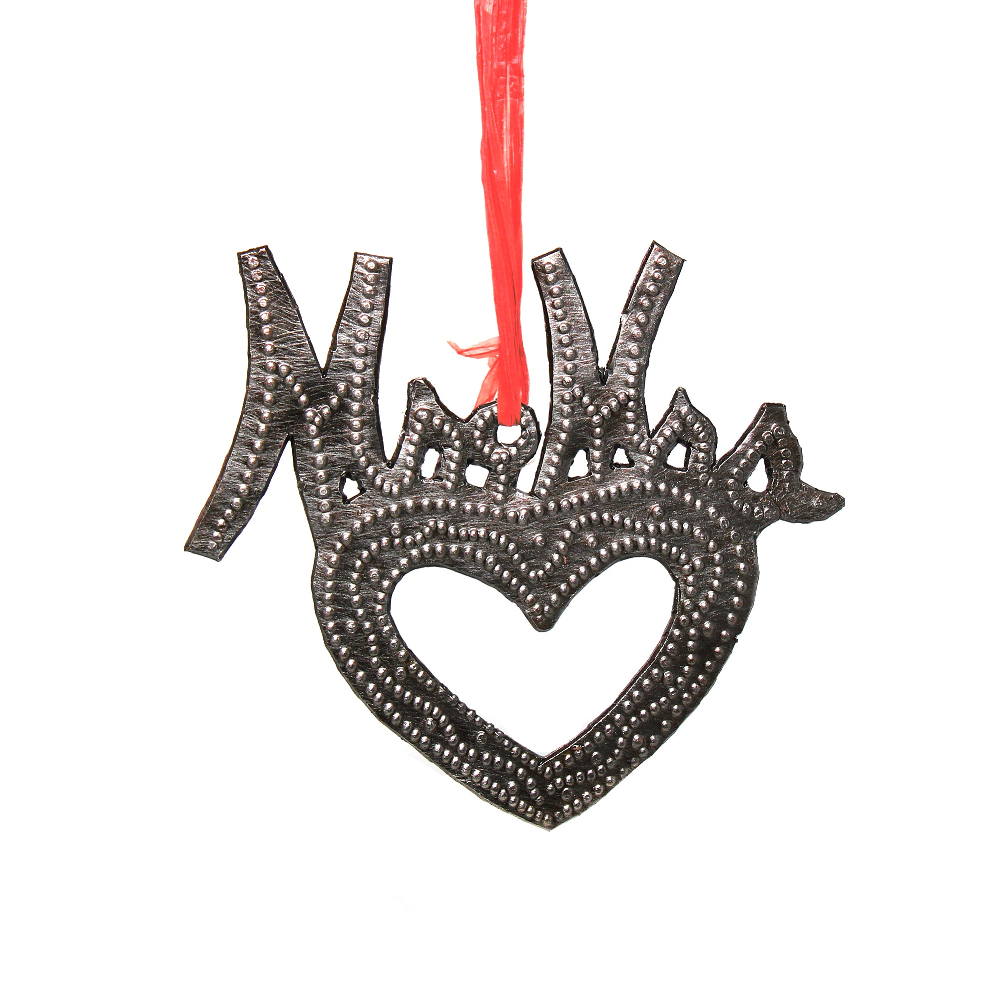 Mr & Mrs Newlywed Heart Haitian Metal Drum Christmas Ornament