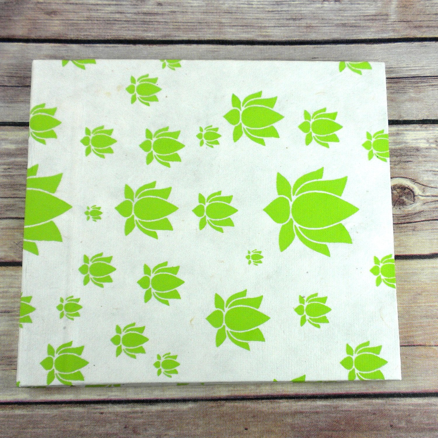 Eco-Friendly Journal with Lotus Design Large, Lime