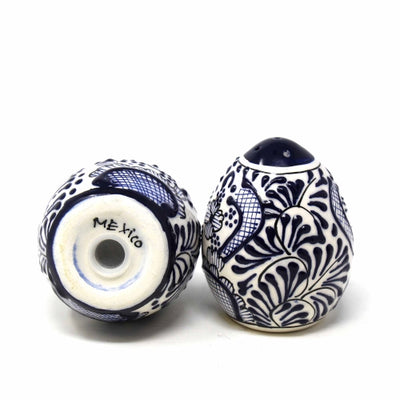 Encantada Handmade Pottery Set of Two Shakers, Blue Flower