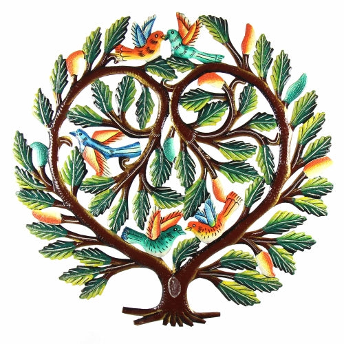 Tree of Life Heart Haitian Metal Drum Wall Art, 24""