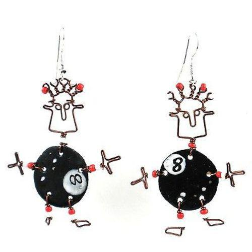 Dancing Girl Eight Ball Earrings