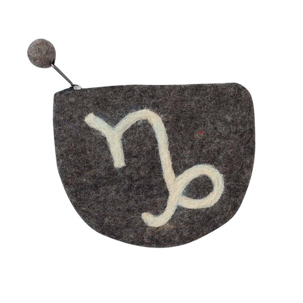 Hand Crafted Felt Pouch from Nepal: Zodiac, Capricorn