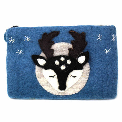 Buck Deer Felt Zipper Pouch
