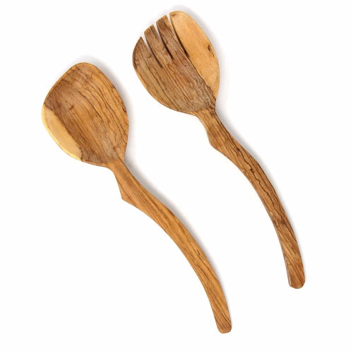 Olive Wood Serving Set, Curved Handle