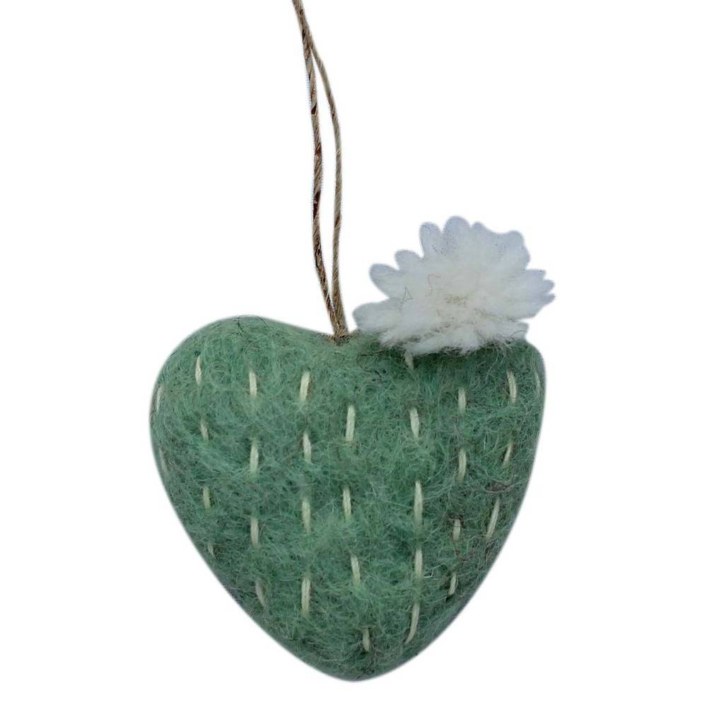 Hand Crafted Felt from Nepal: Ornament, Sage Heart Cactus White Flower