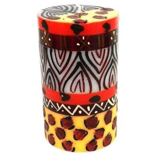 Hand-Painted Pillar Candle in Gift Box, 4-inch (Uzima Design)