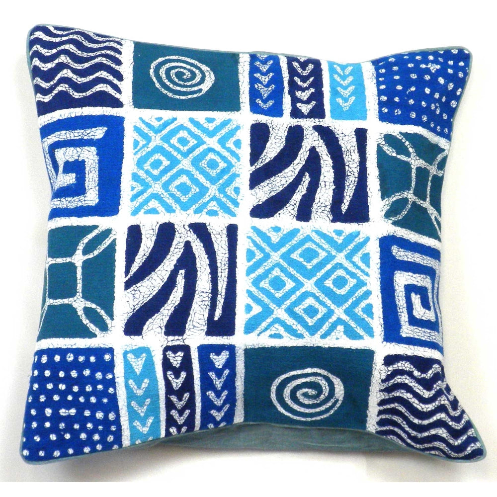 Pillow Cover Geo Blue Patches