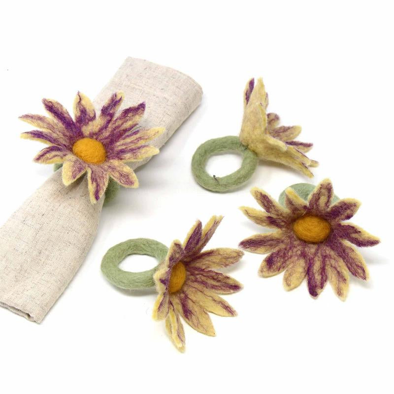 Hand Crafted Felt from Nepal: Set of 4 Napkin Rings, Daisies, Purple