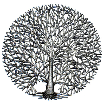 Full Branches Tree of Life Haitian Metal Drum Wall Art, 23""