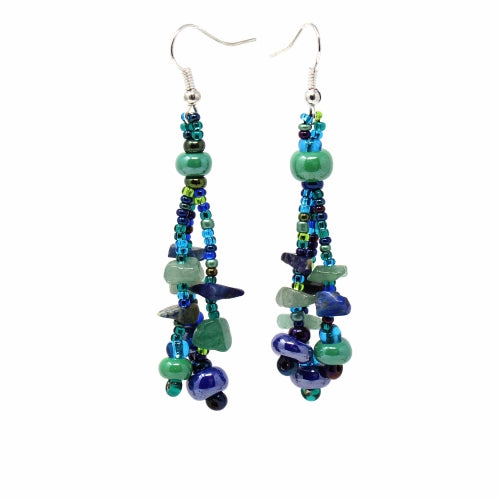 Beach Ball Earrings - Blue/Greens