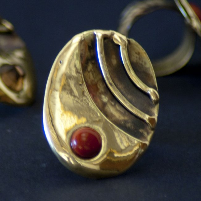 Red Jasper and Brass Stripes Ring