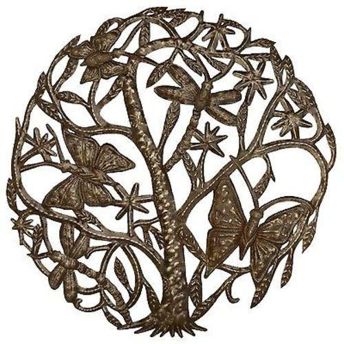 CLEARANCE Tree of Life Butterfly and Dragon Haitian Metal Drum Wall Art, 24""