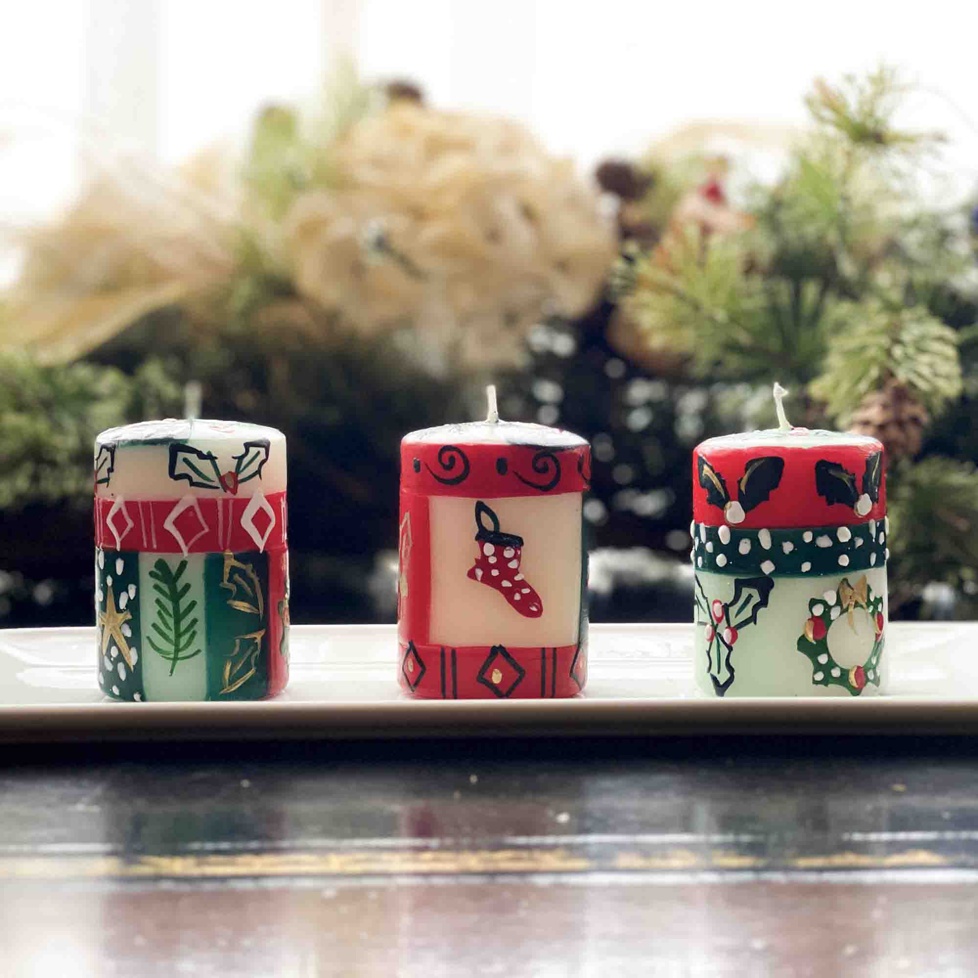 Christmas Hand-Painted Votive Candles, Boxed Set of 3 (Ukhisimusi Design)