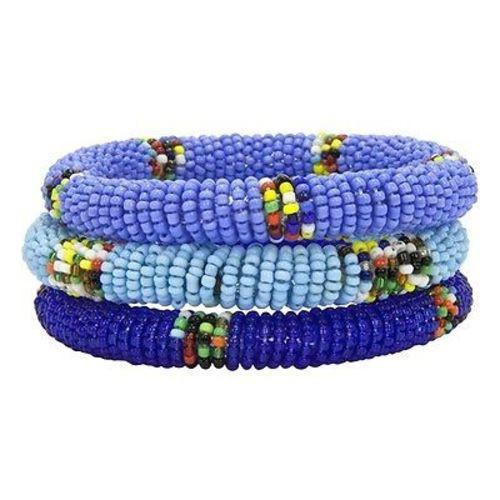Maasai Bead Bangles, Set of 3 Blues