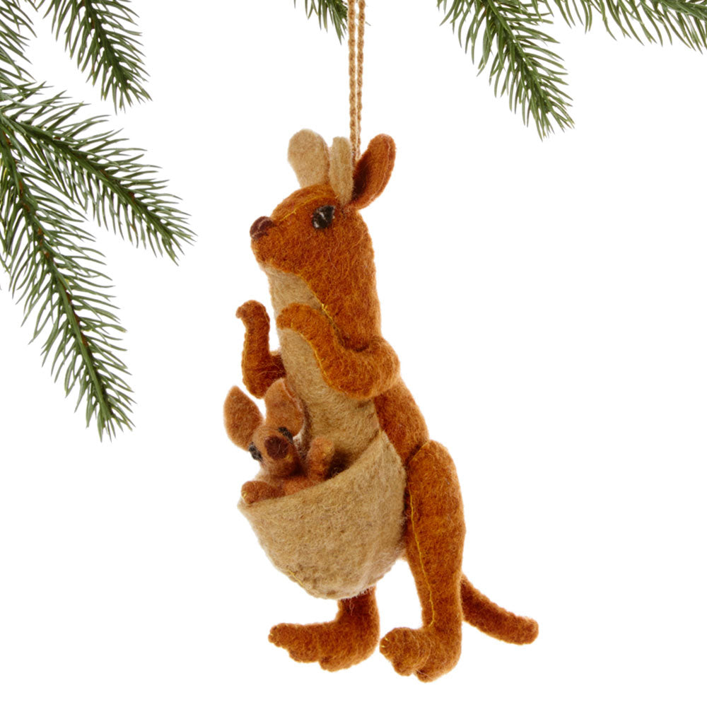 Kangaroo Felt Holiday Ornament
