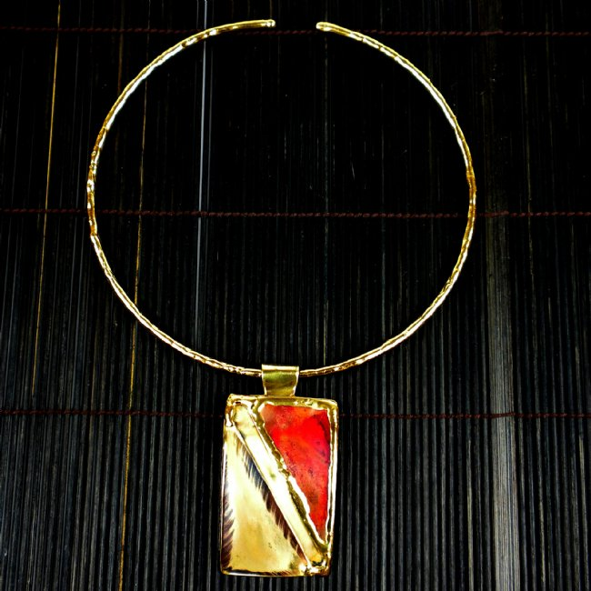 Red Copper and Brass Pendant Necklace
