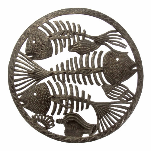 CLEARANCE Triple Fish Bones Nautical Ringed Haitian Metal Drum Wall Art, 24""