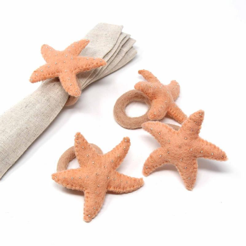 Hand Crafted Felt from Nepal: Set of 4 Napkin Rings, Starfish, Sand