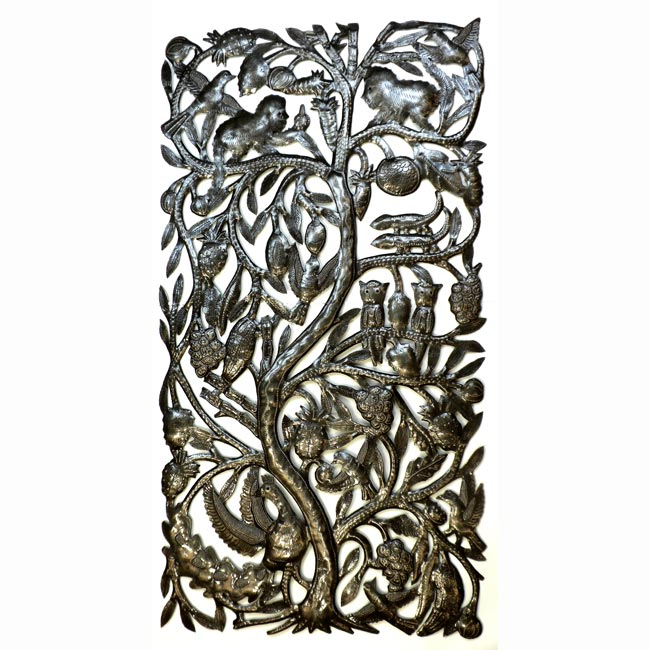 "CLEARANCE Tree of Life with Animals Haitian Metal Drum Wall Art (33"" x 17"")"