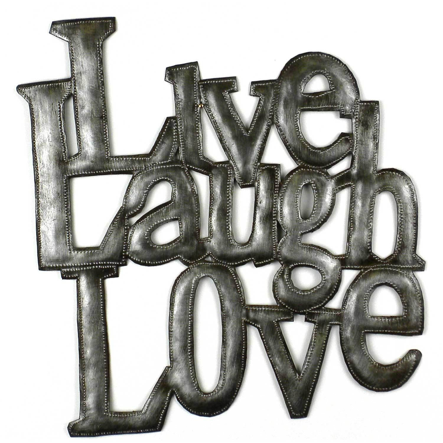 "CLEARANCE ""Live Love Laugh"" Haitian Metal Drum Wall Art"