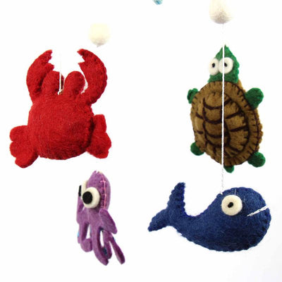 Hand Crafted Felt from Nepal: Mobile, Deep Sea