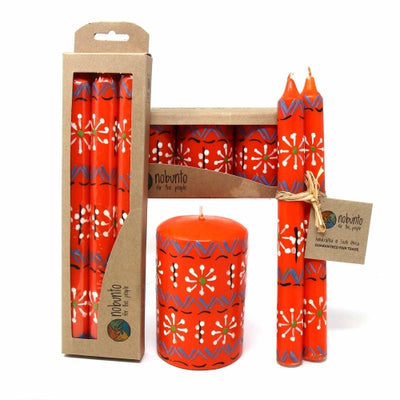 Hand Painted Taper Candles, Pair, Orange Masika Design