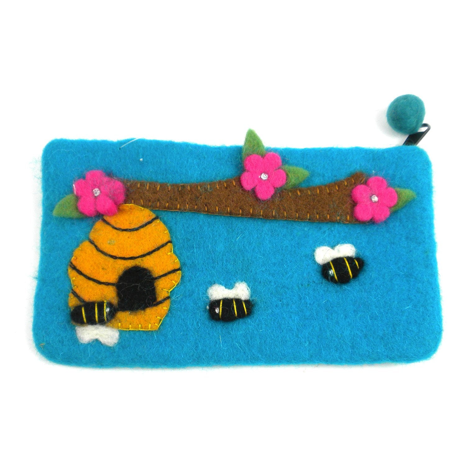 "Hand Crafted Felt Pouch from Nepal: 8"" x 4.5"", Blue Bee"