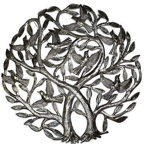 Double Tree of Life Haitian Metal Drum Wall Art, 24""