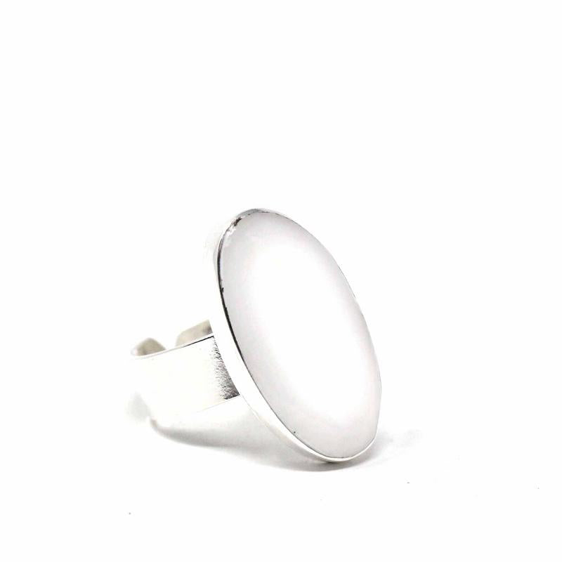 Mother-of-Pearl Oval Adjustable Ring