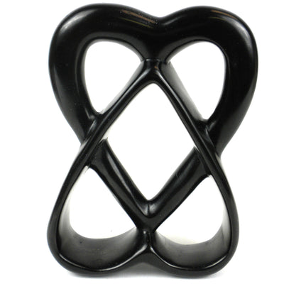 Double Heart Soapstone Sculpture, 6-inch
