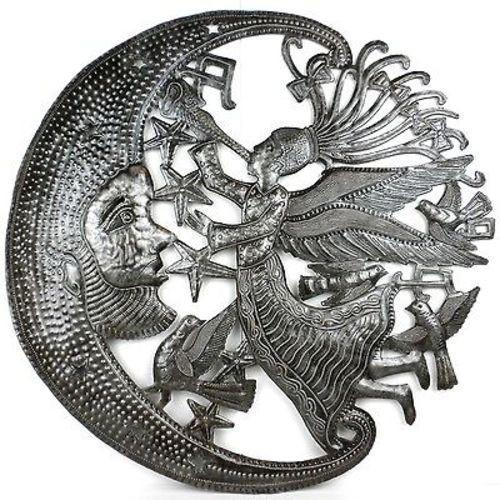 Angel and Moon Celestial Haitian Metal Drum Wall Art, 24""