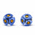 Round Glass Stud Earrings, Blue and Yellow Flowers - Pack of 3