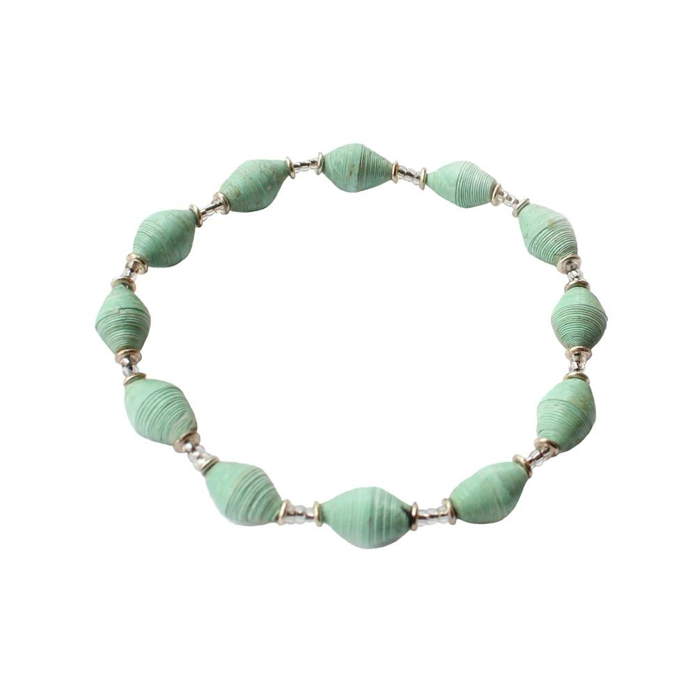 Single Strand Magazine Bead Bracelet Seafoam