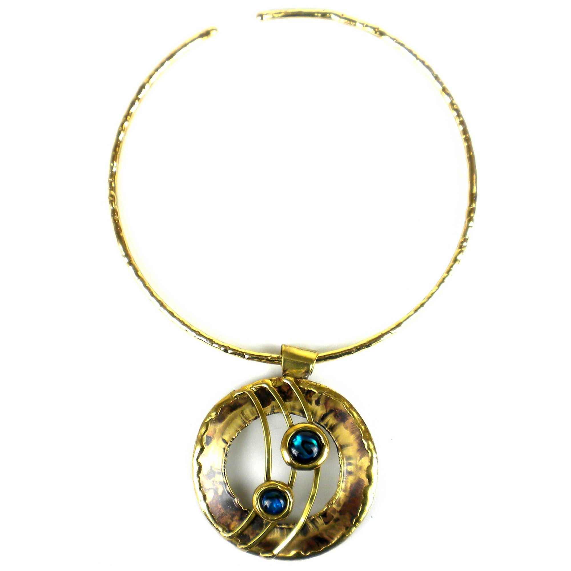 Ripple Effect Paua Shell and Brass Pendant  Necklace