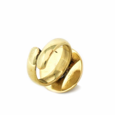 Domed Adjustable Brass Ring - Pack of 3
