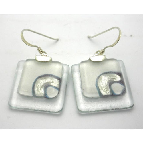 Clear Glass and Dot Earrings with Sterling Silver