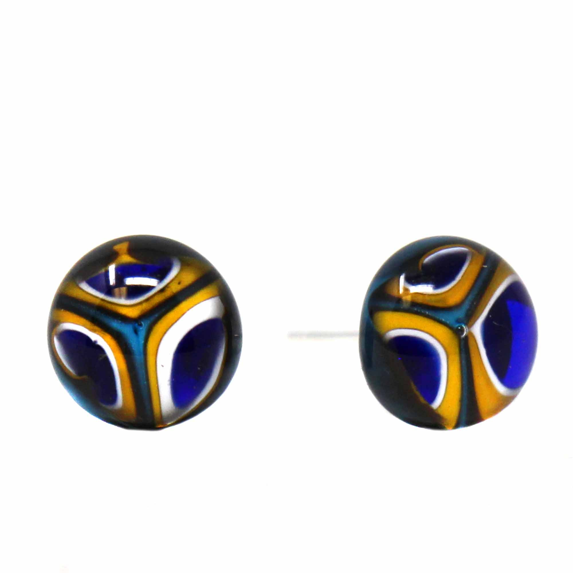 Small Glass Stud Earrings - Blue and Yellow Kaleidoscope