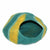 Cat Cave Pet Bed Felted Wool, Teal/Yellow