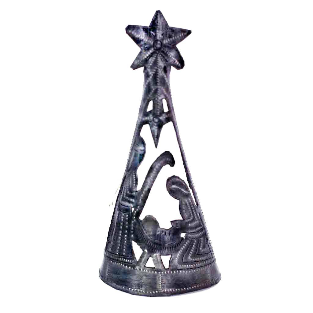 Christmas Tree with Nativity Haitian Metal Drum Décor Tree Topper, 7""