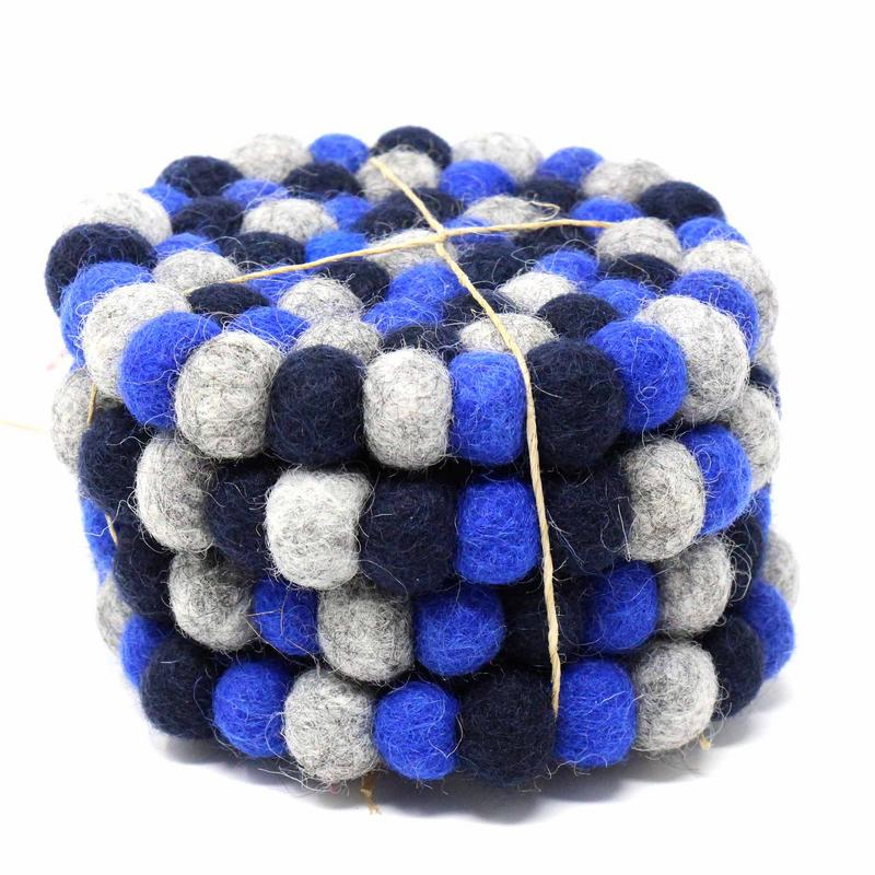 Hand Crafted Felt Ball Coasters from Nepal: 4-pack Chakra, Dark Blues