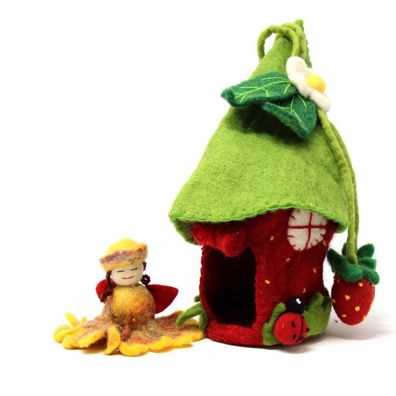 "Hand Crafted Felt from Nepal: Fairy Theme, 11"" Strawberry House"