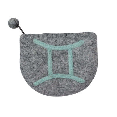 Hand Crafted Felt Pouch from Nepal: Zodiac, Gemini