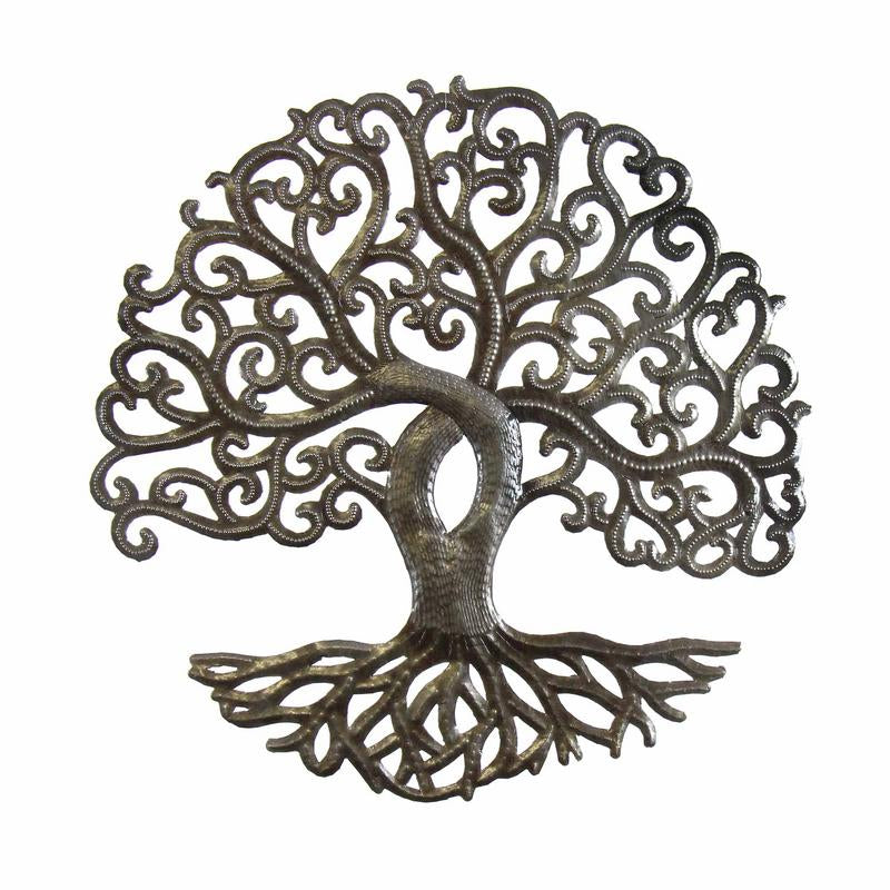 Tree of Life Curly Haitian Metal Drum Wall Art, 14""