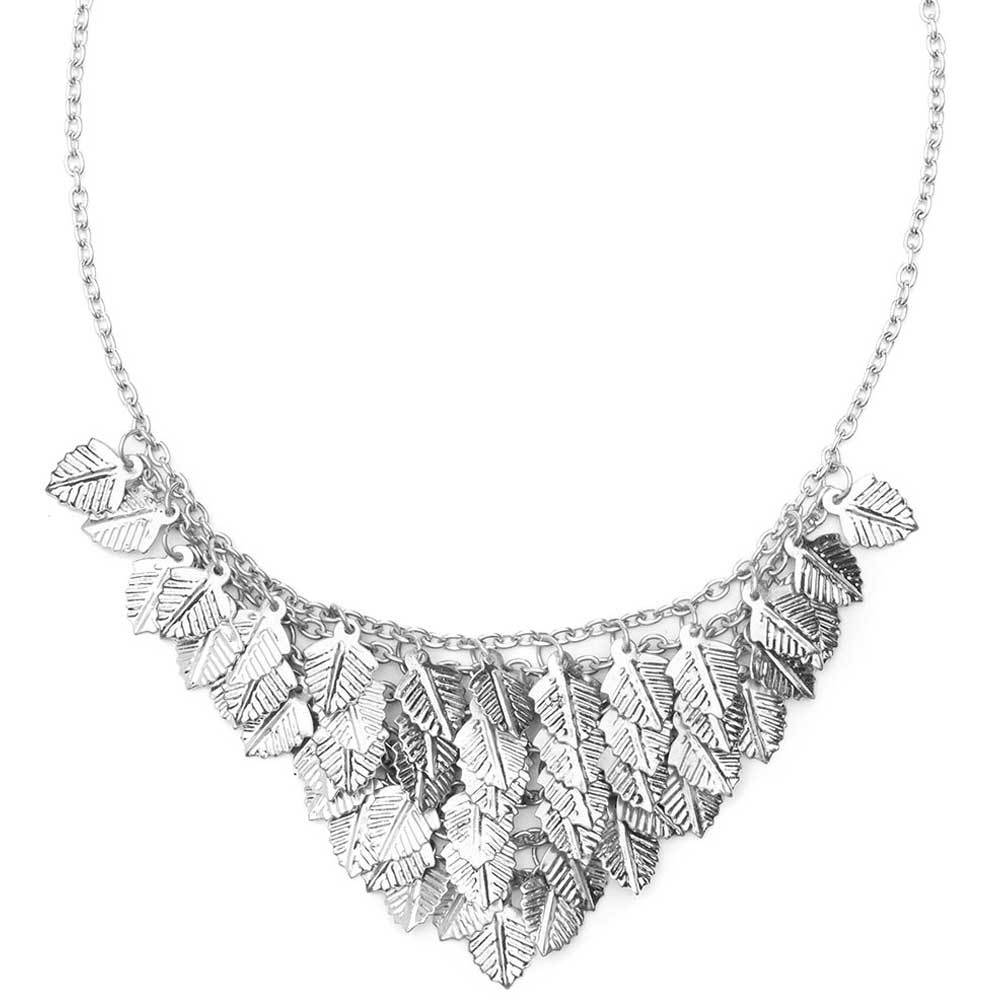 Falling Leaves Necklace - Silver tone