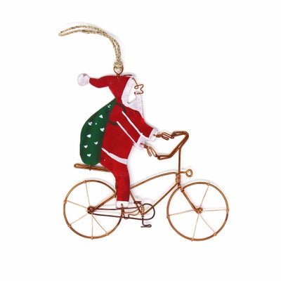 Recycled Wire Bicycle Santa Ornament