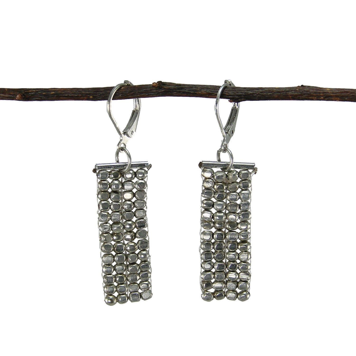 Rectangle Cubist Earrings - silver