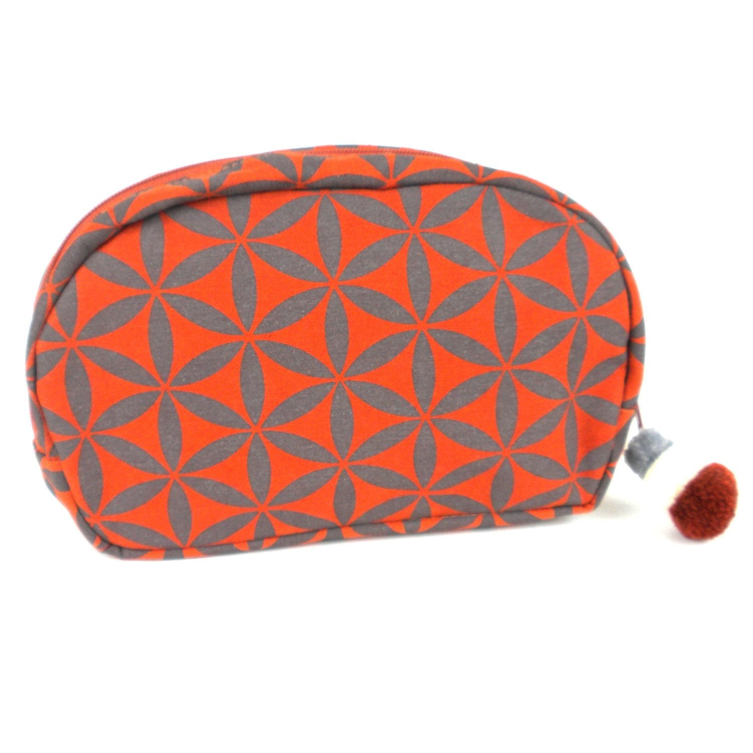Flower of Life Collection Make-up Bag, Terra Cotta/Grey