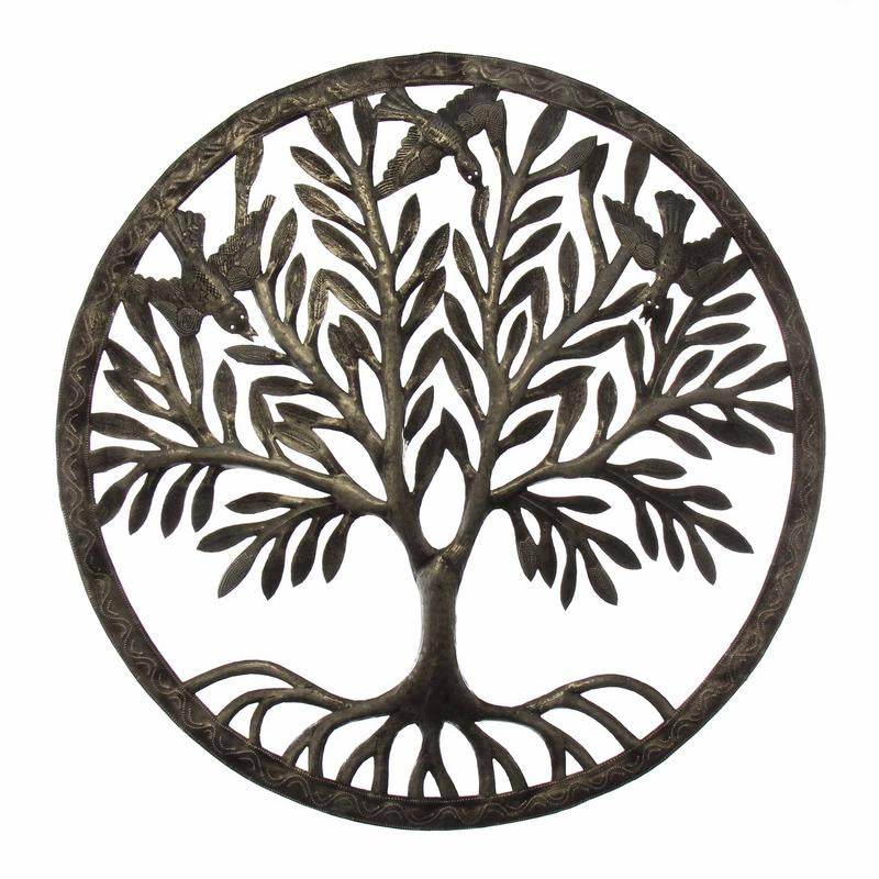 Rooted Tree of Life with Birds Ringed Haitian Metal Drum Wall Art, 23""