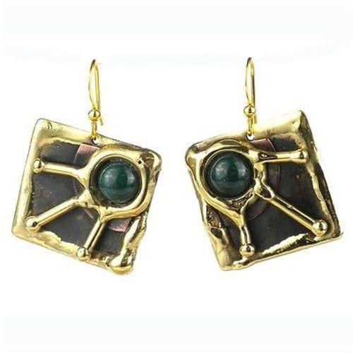 Green Jade Rays Brass Earrings