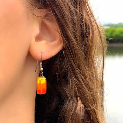 Fire Small Rectangular Glass Earrings